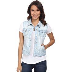 Liverpool Printed Denim Vest Women's Vest, Blue ($41) ❤ liked on Polyvore featuring outerwear, vests, blue, vest waistcoat, western vest, denim vest, pattern vest and blue waistcoat