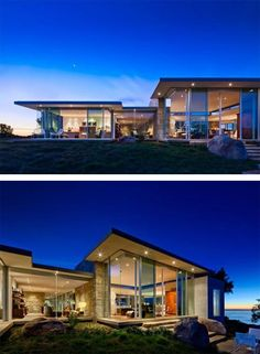 Contemporary hillside residence, located in California, USA. It opens towards a dramatic landscape. From each room of this residence one can take-in the stunning view of natural environment trough large size glass windows.