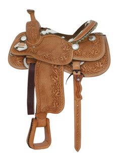 Teskey's Cowhide Ladies Roper, beautiful basketweave tooling with oak leaf, acorn and barbed wire border. 13 - in Chestnut or Light Oil. Western Horse Tack, My Horse, Western Saddles, Horse Riding, Roping Saddles, Horse Saddles, Team Roper, Saddles For Sale, Saddle Shop