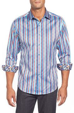 Robert Graham 'George Bailey' Classic Fit Stripe Sport Shirt available at #Nordstrom
