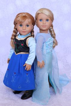 Elsa and Anna outfits for American Girl dolls!