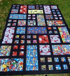 Superhero quilt, Patio pattern from Happy Zombie. Would work for any theme including I Spy. Quilt Baby, I Spy Quilt, Cute Quilts, Boy Quilts, Scrappy Quilts, Batman Quilt, Superhero Quilt, Star Wars Quilt, Quilting Projects