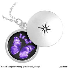 Black & Purple Butterfly Silver Plated Necklace Purple Butterfly, Black Felt, Locket Necklace, Christmas Card Holders, Colorful Backgrounds, Silver Plate, Christmas Bulbs, Plating, Gifts