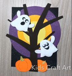 Halloween paper craft for kids ghost pumpkin - basteln - halloween art Halloween Tags, Scary Halloween Crafts, Halloween Crafts For Toddlers, Thanksgiving Crafts For Kids, Christmas Crafts For Kids, Halloween Templates, Fun Arts And Crafts, Paper Crafts For Kids, Preschool Crafts
