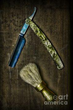 Vintage Barber Tools Metal Print by Paul Ward Straight Razor Shaving, Shaving Razor, Shaving Brush, Wet Shaving, Razor Strop, Vintage Hair Salons, Barber Shop Decor, Mens Facial, The Art Of Shaving