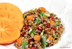 Rye Berry Salad with Roasted Carrots, Squash, Pomegranate Seeds, Arugula, and Persimmon. #salad #lowcal #diet #maindish #ryeberries #farro #pomegranate #persimmon #easyrecipe #vegan #vegetarian