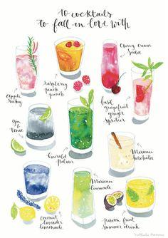 Cocktail Art Print aquarelle cocktail par NathalieOuederni sur Etsy