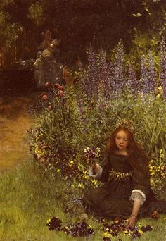 ⊰ Posing with Posies ⊱ paintings & illustrations of women & children with flowers - Lawrence Alma-Tadema (Dutch, ~Lady Laura Teresa Gathering Pansies. Lawrence Alma Tadema, Lady Laura, Dutch Painters, Pre Raphaelite, Illustration, Dutch Artists, Art Database, Parcs, Pansies