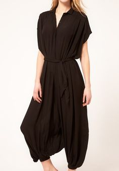 ++ Black High Waist Loose Jumpsuit