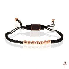 Rose Plated Beaded Bracelet #men #bracelet #menbracelet #style #menstyle #rose #beaded #black #rope #menfashion