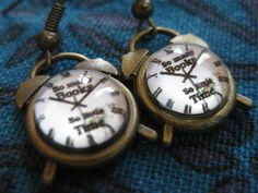 ANTIQUE GOLD RETRO ALARM CLOCK EARRINGS! SO MANY BOOKS SO LITTLE TIME LIBRARIAN