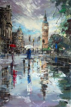 ewa czarniecka london reflections original oil painting on canvas ready to hang artists illustrators original art for sale direct from the artist # London Painting, City Painting, Oil Painting Abstract, Painting For Sale, Building Painting, Rain Painting, Painting Trees, Building Art, Painting Flowers