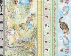 Beatrix Potter Peter Rabbit Cotton Fabric Victorian by NsewFabrics