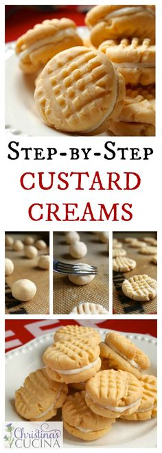 Homemade Custard Creams are so much better than the store-bought variety. These classic British biscuits literally melt in your mouth. Custard Biscuits, Custard Cookies, Cream Biscuits, Cream Cookies, Cookie Desserts, Easy Desserts, Cookie Recipes, Delicious Desserts, Dessert Recipes