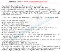 Maths Tricks - Calender trick - Online Competitive Exams, Aptitude, General Knowledge, Online Exams, Online Test, Quiz, Online G.K.