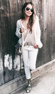 The 2016 Way to Style Your White Jeans via @WhoWhatWear