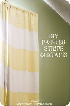 DIY Striped Blackout Curtains {using ScotchBlue Painter's Tape with Edge-Lock Protector} - The Crafting Chicks Striped Curtains, Diy Curtains, Blackout Curtains, Home Crafts, Home Projects, Diy Home Decor, Baby Crafts, Painted Curtains, Paint Stripes