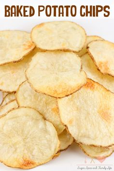 Stop buying overpriced bags of and start making your own homemade potato chips. These Baked Potato Chips are delicious and easy to make. They are also healthier since they are not fried. - Baked Potato Chips Recipe on Sugar, Spice and Family Life Homemade Chips, Easy Homemade Snacks, Easy Snacks, Snack Recipes, Cooking Recipes, Chips Recipe, Family Life, The Best, Food To Make
