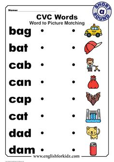 Reading CVC words is one of the first activities that educators offer children when teaching them how to sound out English words. Short A Worksheets, English Worksheets For Kids, Phonics Worksheets, Reading Worksheets, Consonant Blends, Short A Activities, 3 Letter Words, Letter Sounds, Mariana