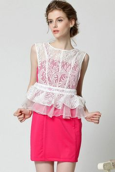Lace Overlay Peplum Dress Set