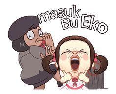 LINE Official Stickers - Neneng Gesrek: Makin Gesrek Example with GIF Animation Cartoon Jokes, Cartoon Art, Cute Love Gif, Bff Gifts, Face Expressions, Line Sticker, Disney Cartoons, Cute Stickers, Animated Gif