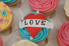 """Love"" Heart Cupcake Personalised Cupcakes, Heart Cupcakes, Mini Cakes, Love Heart, Muffins, Desserts, Inspiration, Food, Biblical Inspiration"