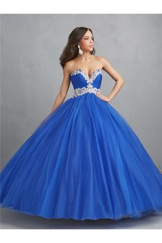 Ball Gown Strapless Sweetheart Empire Waist Royal Blue Tulle Beaded Quinceanera Prom Dress