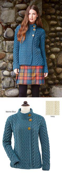 Knitwear - Asymmetrical Three-Button Cardigan