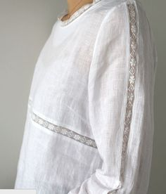 sleeve detail lace trim White Linen Shirt, White Linen Dresses, White Cotton Blouse, Cotton Lace, Linen Blouse, Dressmaking, Linen Tops, Revelation 19, Dress Tops