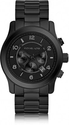 Michael Kors Runway Black Stainless Steel Men s Chrono Watch   Mensaccessories Mens Style Guide 528a8bf8580