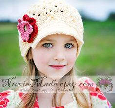 Girls Hat, Crochet Childrens Hat, Kids Hat, Flower Beanie with Brim- cream, deep red, rose, celery, newsgirl, newsboy, Free US Shipping on Etsy, $32.00