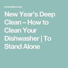 New Year's Deep Clean – How to Clean Your Dishwasher | To Stand Alone
