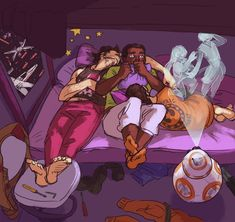 Cool Art: Poe, Finn and Rey watch a movie. Or Poe and Rey sack out while Finn watches a movie. I will always repin this!!