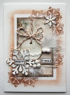 xmas card - Scrapbook.com...this would be great for a Christmas mixed media canvas!