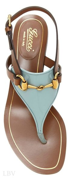 Sandals by Gucci--fabulous color and hardware.  Wear with shorts, skinny jeans, maxi dress.  #shoes #gucci #sandals