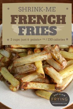 "Since fast-food French Fries / Chips have been classed as ""Supersize Me"" food, and these fries actually make for sensible, healthy diet food, I'm gonna call them — Shrink-Me Fries! Healthy Diet Recipes, Skinny Recipes, Healthy Eating, Air Fry Everything, Air Fry Potatoes, Fried Chips, Air Frier Recipes, Actifry Recipes, Weight Watchers Diet"