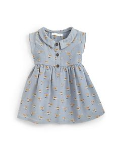 Marie Chantal – Infant's Printed Shirtdress Baby Girl Frocks, Baby Girl Skirts, Frocks For Girls, Kids Frocks, Little Girl Dresses, Baby Girl Frock Design, Baby Girl Dress Patterns, Little Girl Fashion, Kids Fashion