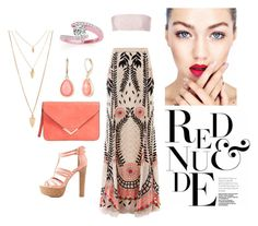 """""""Red & Nude"""" by lovettaa on Polyvore featuring Temperley London, Mary Katrantzou, Charlotte Russe, Vintage America, Forever 21 and Allurez"""