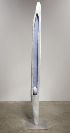 Louise Bourgeois — Untitled , 1947, Bronze, painted white and blue, and stainless steel, 173.3 x 30.4 x 30.4 cm / 68 1/4 x 12 x 12 in