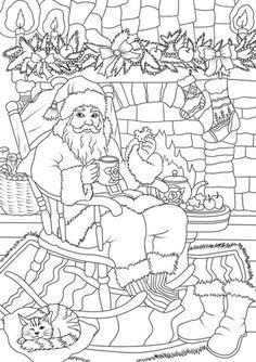 Santa Claus Drinking Tea with Cookie While Soaking up in Front of the Fireplace coloring page from Santa Claus category. Select from 26202 printable crafts of cartoons, nature, animals, Bible and many more.