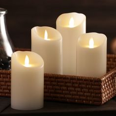 """Evoke the warm ambience of a real candle with our wax LED candle. Featuring a moving """"flame"""" that creates a flickering effect, it's a safe, heat-free alternative for homes with pets or children. Flameless Candles, Pillar Candles, Cost Plus, Childproofing, Led Technology, World Market, Reception Ideas, Things To Buy, Random Things"""