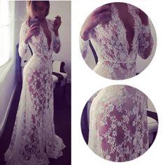 Spotted while shopping on Poshmark: ✨2 Left 1 SM/XL✨Beautiful Lace Floor Length Dress✨! #poshmark #fashion #shopping #style #Boutique #Dresses & Skirts