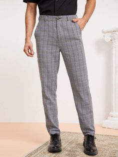 Men Zip Fly Slant Pocket Glen Plaid Pants Mens Dress Pants, Plaid Pants, Heeled Espadrilles, Fashion News, Mens Fashion, Loafers Online, Glen Plaid, Type Of Pants, Mens Caps