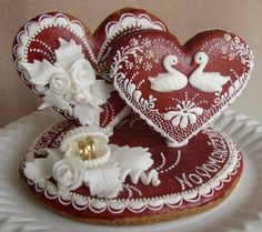 Perníky...yes I know these are cookies, but they would be WONDERFUL embroidered on felt hearts!