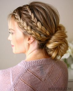 Triple Braided Updo //  #braided #Triple #Updo