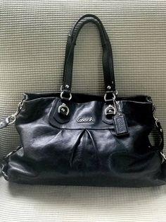 80.00    398 Coach F15513 Ashley Black Leather Carryall Shoulder Bag  Handbag Purse ❤   c4deff9587
