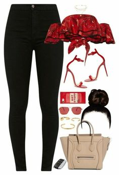 Red and Black outfit Teen Fashion Outfits, Swag Outfits, Night Outfits, Classy Outfits, Look Fashion, Stylish Outfits, Summer Outfits, Womens Fashion, Fashion Trends