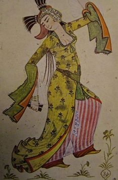 Dancing woman at the Ottoman court. Miniature by Levni; Dance Paintings, Statues, Iranian Art, Turkish Art, Ottoman Empire, Historical Costume, North Africa, Islamic Art, Traditional Art