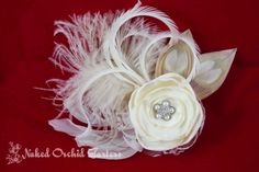 Ivory Bridal Wedding Hair Clip Feather by NakedOrchidGarters