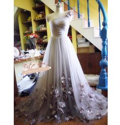 Romantic Custom Tulle One Shoulder Wedding Dress Ball Gown w/ Flowers (Other Colors Available). $780.00, via Etsy.